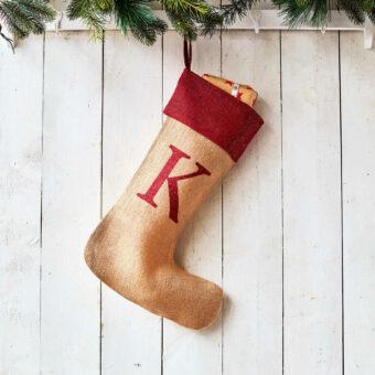 Monogrammed Natural Glitter Christmas Stocking – Red Trim