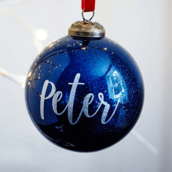 Personalised Glitter Navy Bauble - £15.00