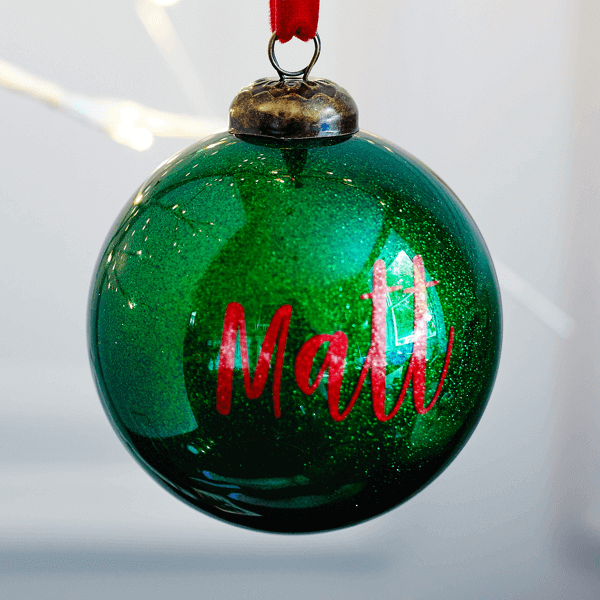 Personalised Glitter Green Bauble - £15.00