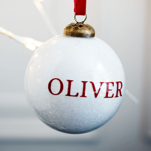 Personalised Glitter White Bauble - £15.00