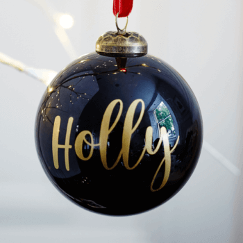 Personalised Gloss Black Bauble - £15.00