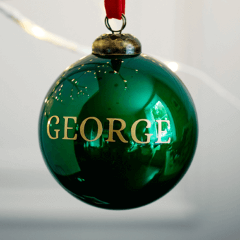 Personalised Gloss Green Bauble - £15.00