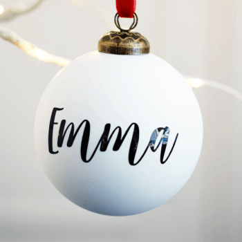 Personalised Matt White Bauble - £15.00