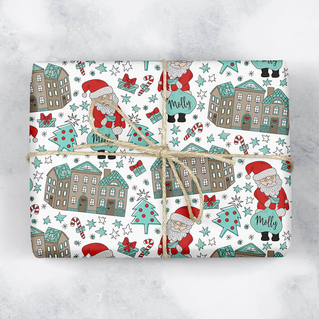 Santa Rooftops Personalised Gift Wrap