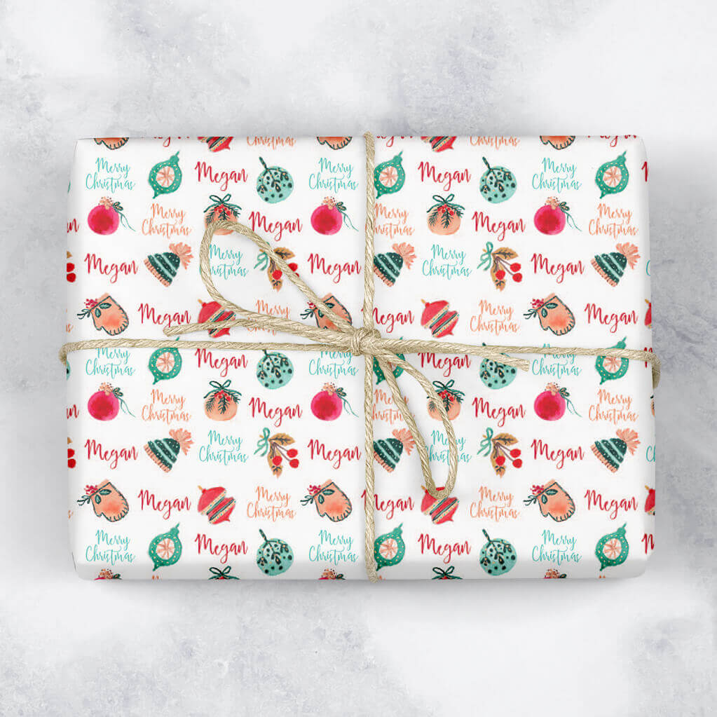 Festive Baubles Personalised Gift Wrap