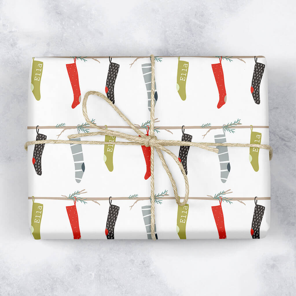 Hanging Stockings Personalised Gift Wrap