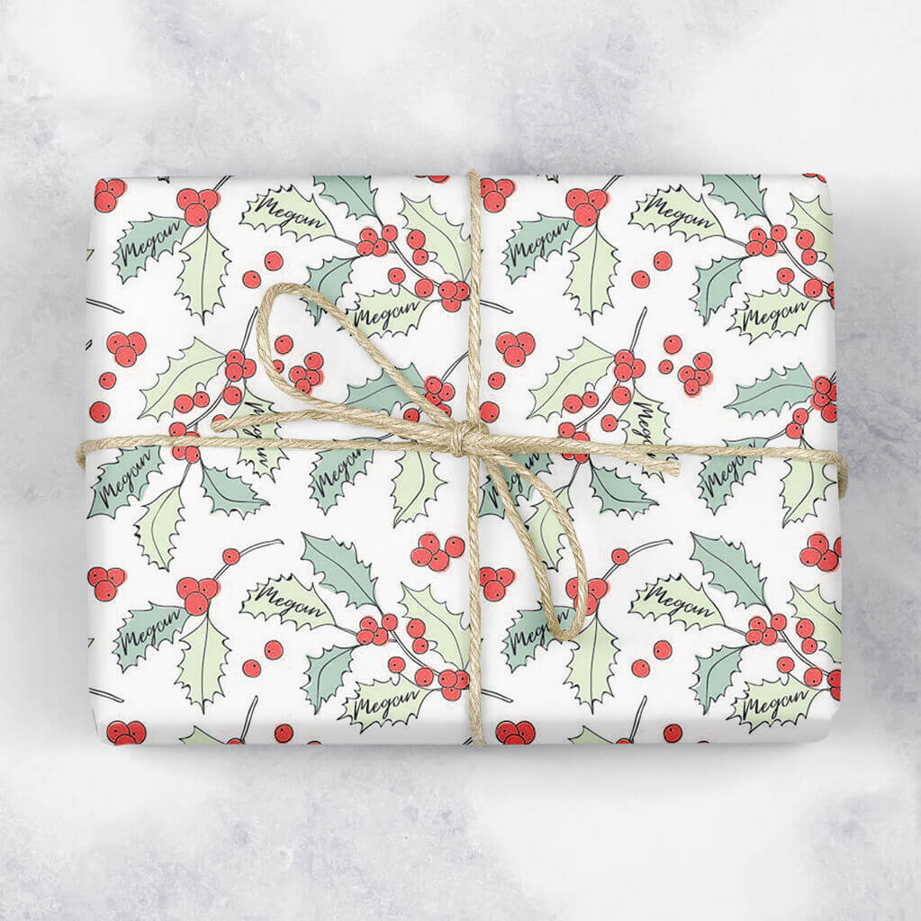 Holly Branch Personalised Gift Wrap