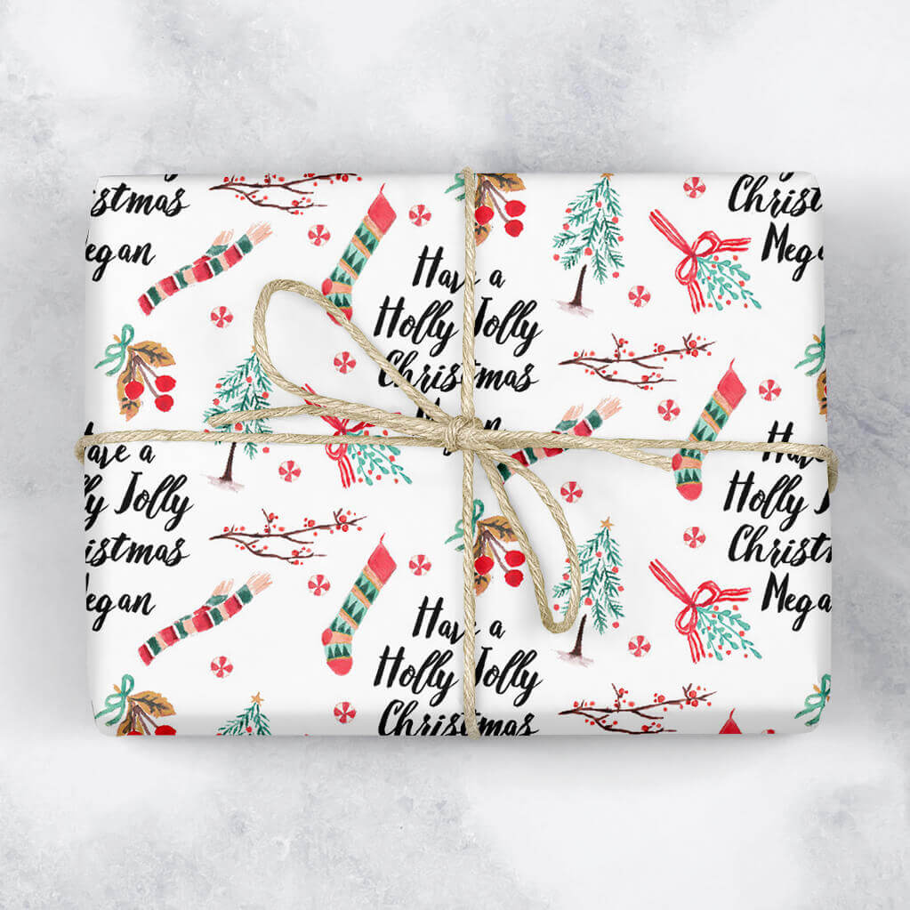 Holly Jolly Personalised Gift Wrap