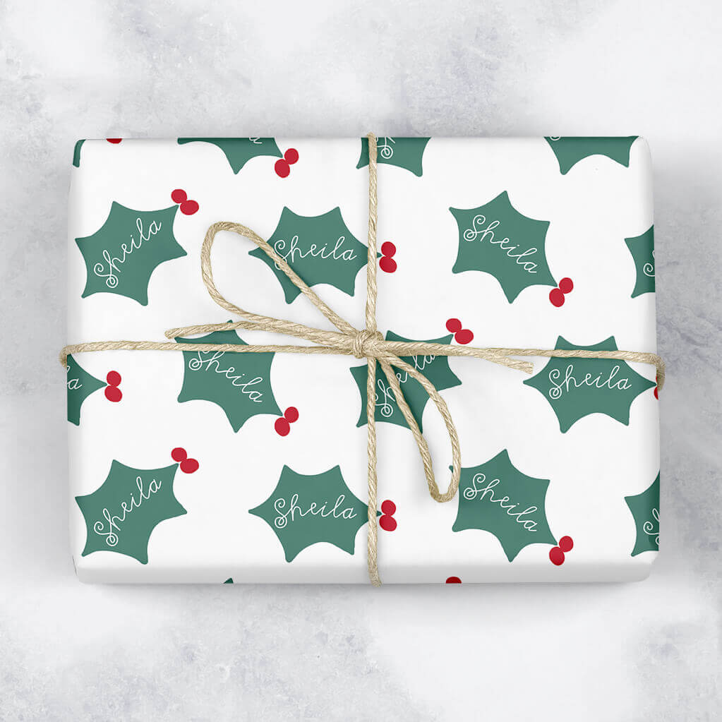 Holly Leaf Personalised Gift Wrap