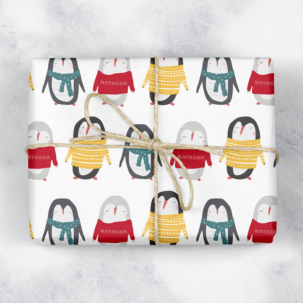 Penguins in Jumpers Personalised Gift Wrap