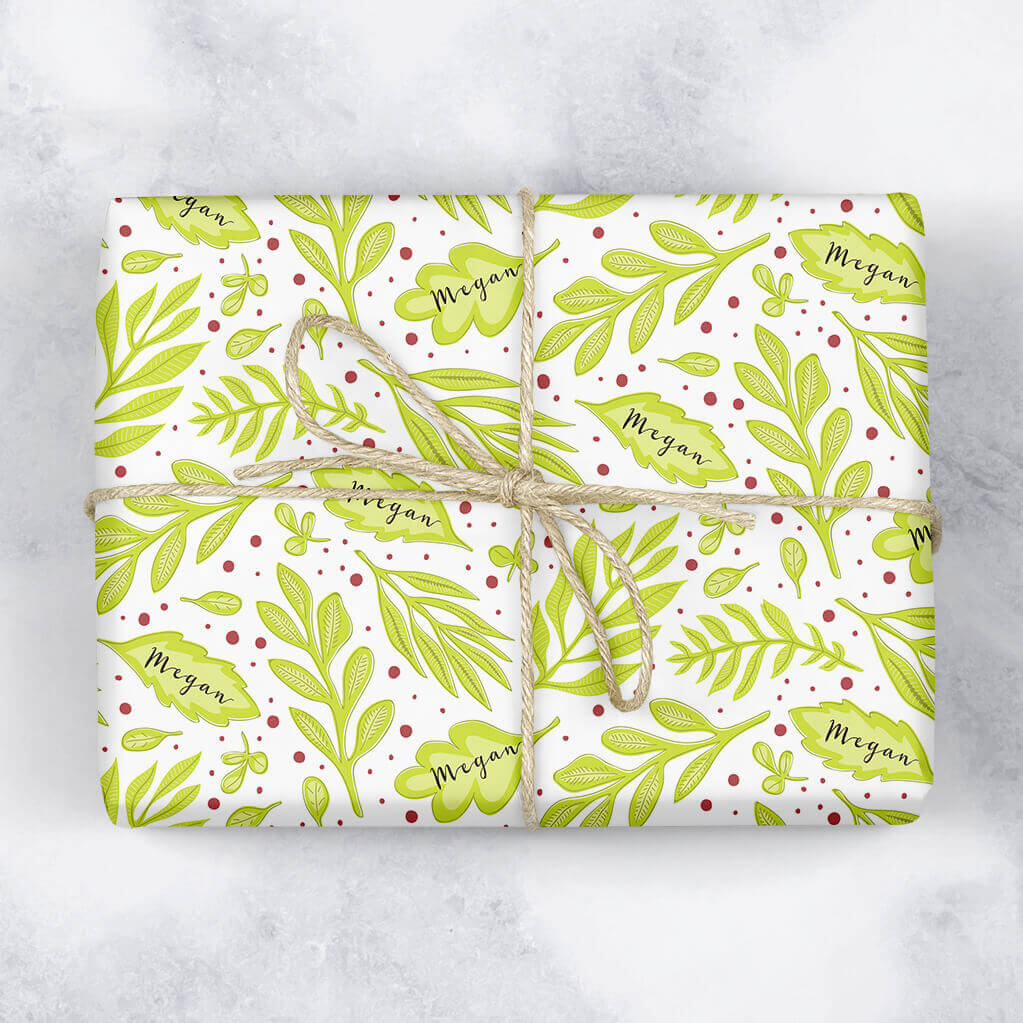 Berries and Leaves Personalised Gift Wrap