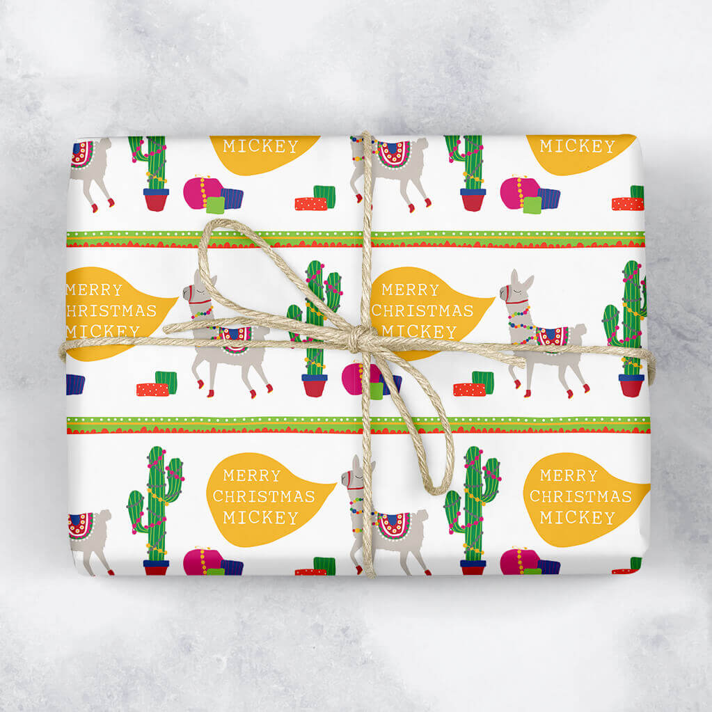 Cheerful Llama Personalised Gift Wrap