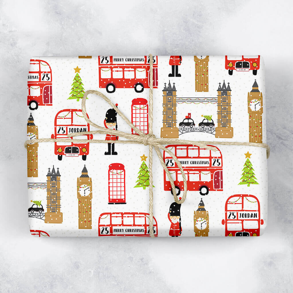 London at Christmas Personalised Gift Wrap