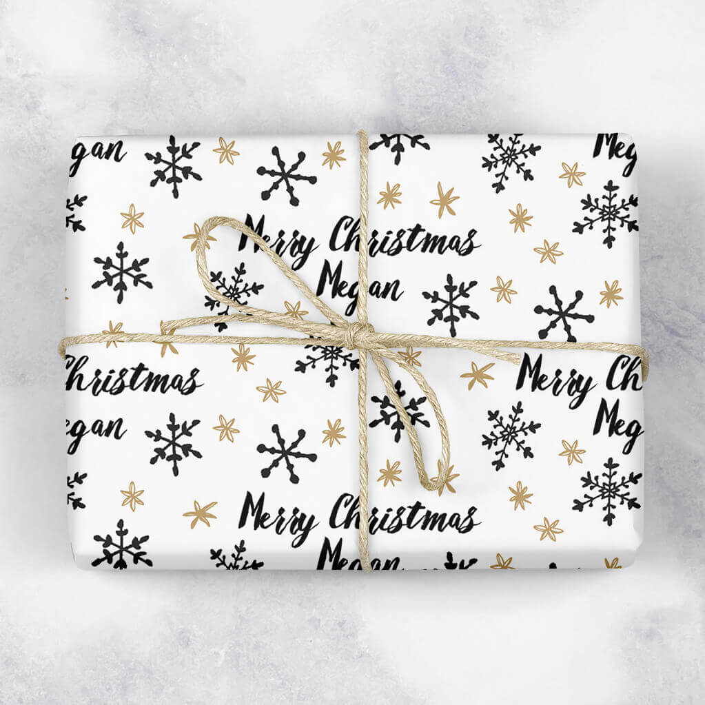 Stars and Snowflakes Personalised Gift Wrap