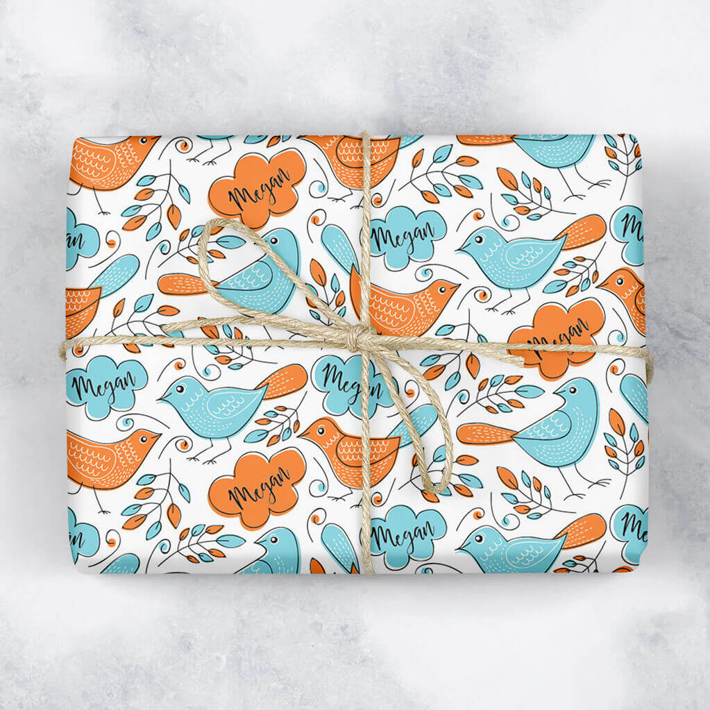Orange and Blue Birds Personalised Gift Wrap