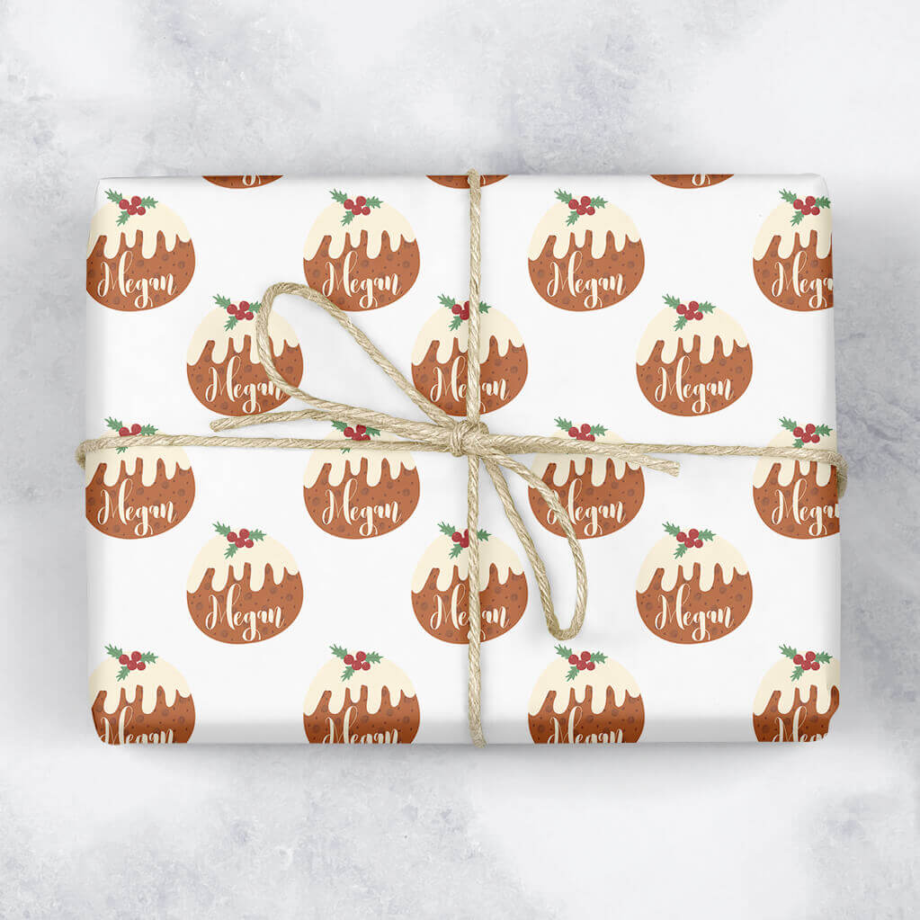 Christmas Pudding Personalised Gift Wrap