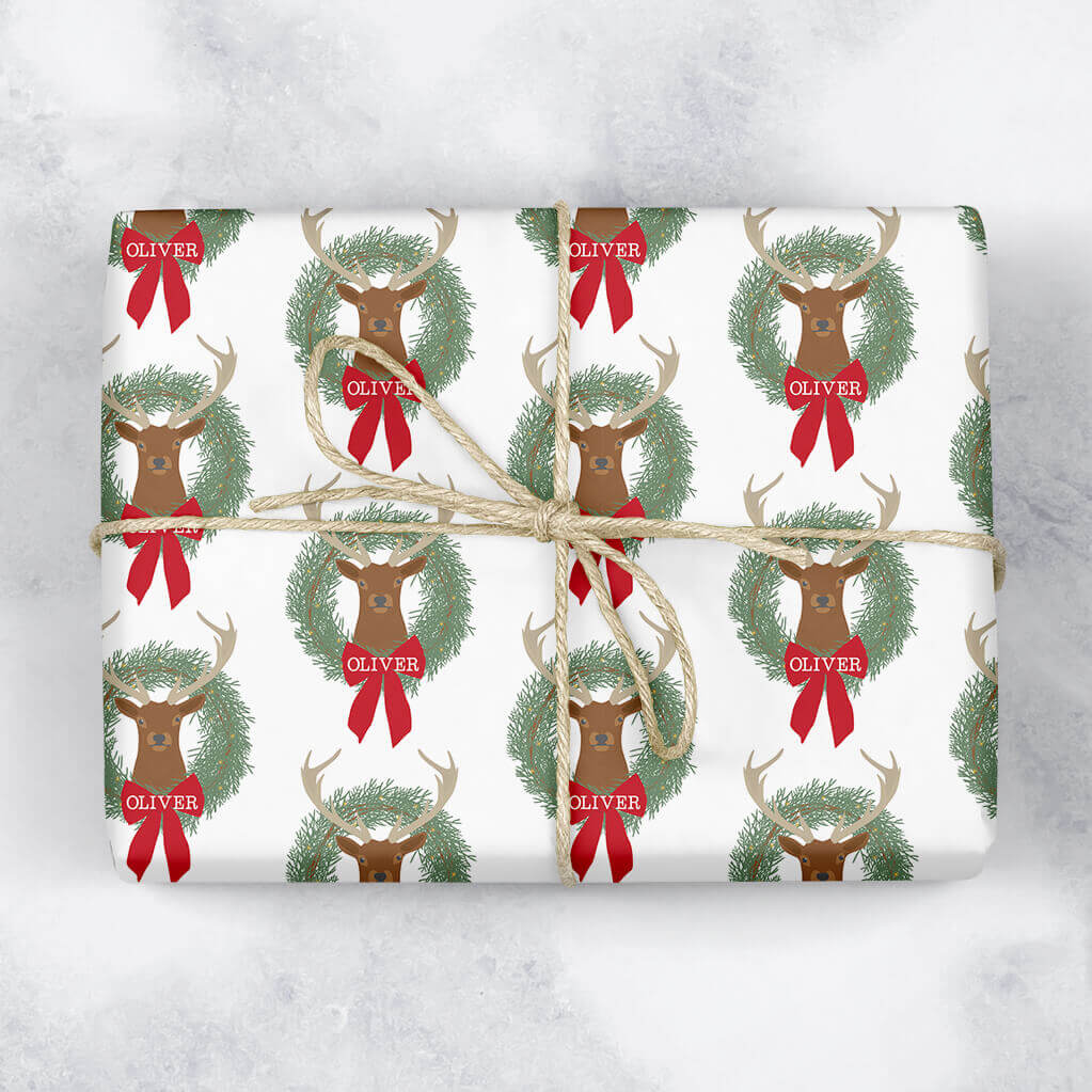 Stag and Wreath Personalised Gift Wrap