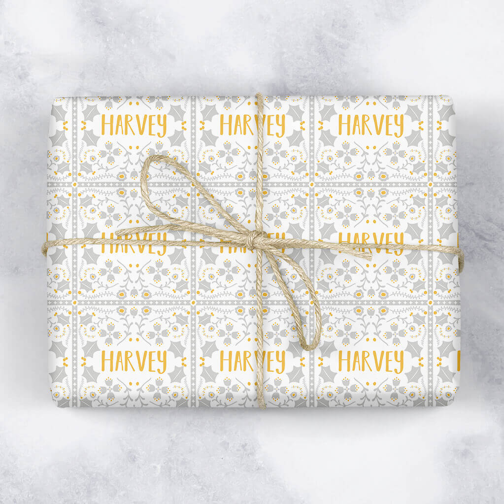 Square Tile Personalised Gift Wrap