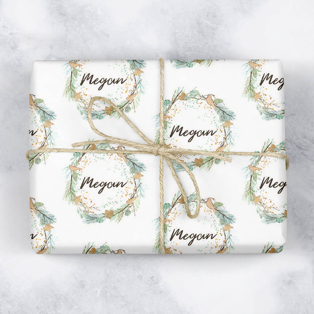 Traditional Wreath Personalised Gift Wrap