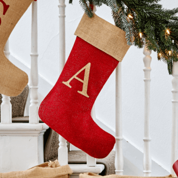 e9a87ebcf162 Traditional hessian stocking with a 100% cotton lining and glitter initial.  ViewPersonalise