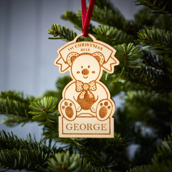 1st Christmas Teddy Wooden Decoration