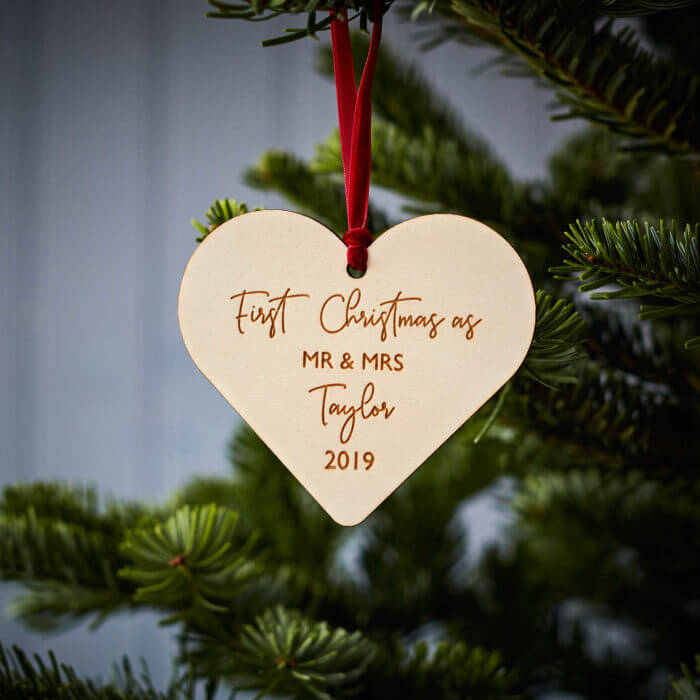 Couples Christmas Wooden Decoration