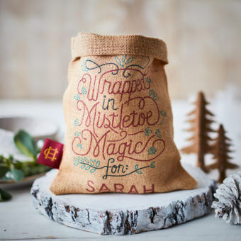Small Mistletoe Hessian Sack