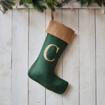 Monogrammed Green Glitter Christmas Stocking – Natural Trim