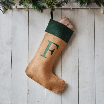 Monogrammed Natural Glitter Christmas Stocking – Green Trim