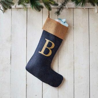 Monogrammed Navy Glitter Christmas Stocking – Natural Trim
