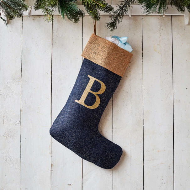 Monogrammed Navy Glitter Christmas Stocking – Natural Trim
