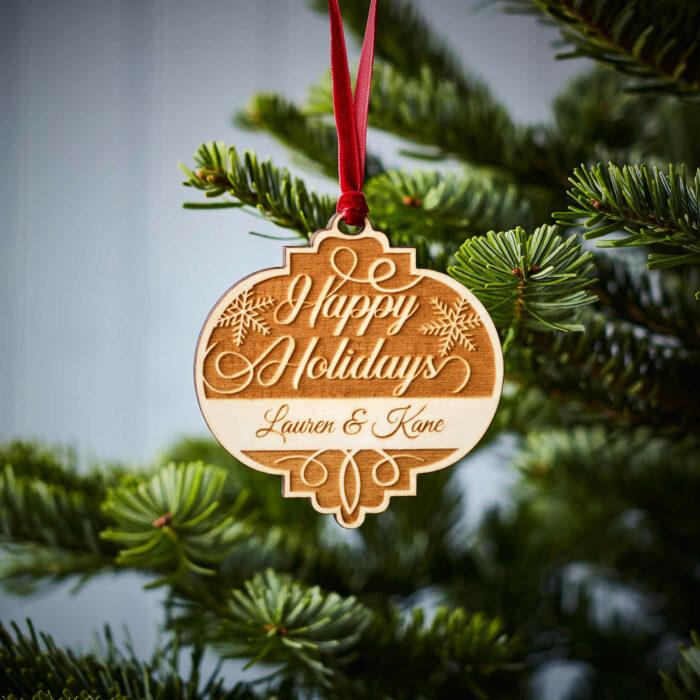 Happy Holidays Wooden Decoration