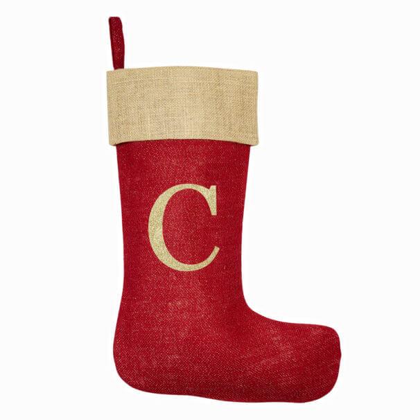 Monogrammed Red Glitter Christmas Stocking – Natural Trim