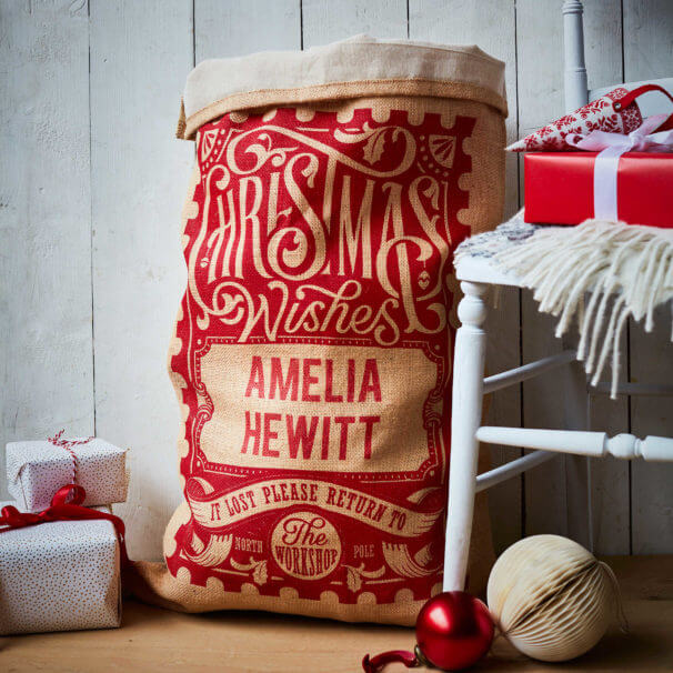 Cotton Lined Red Rowland Christmas Sack