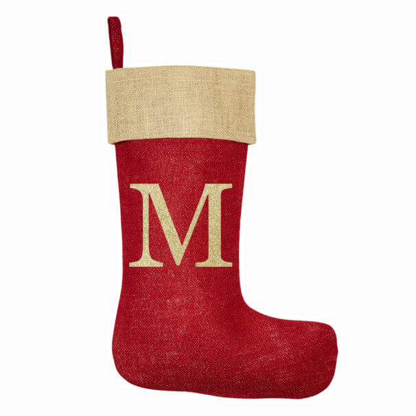 Monogrammed Red Glitter Christmas Stocking – Natural Trim