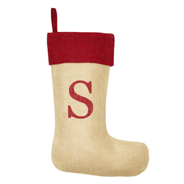 Monogrammed Natural Glitter Christmas Stocking – Red Trim