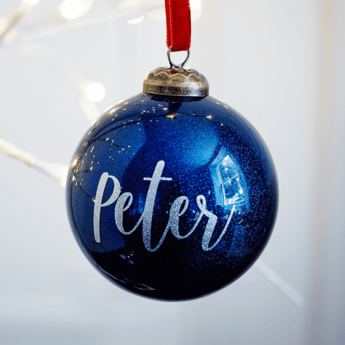Glitter Navy Personalised Bauble BF