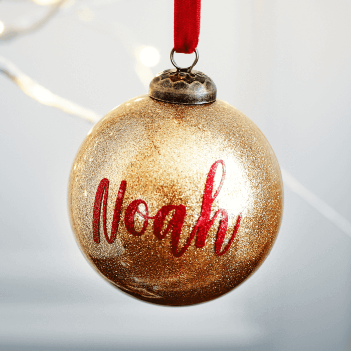 Glitter Gold Personalised Bauble