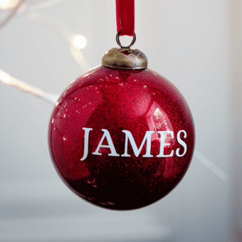 Glitter Red Personalised Bauble BF