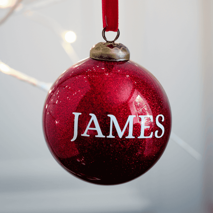 Glitter Red Personalised Bauble