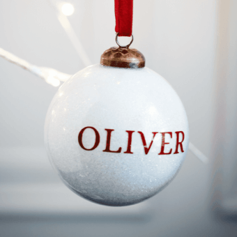 Glitter White Personalised Bauble