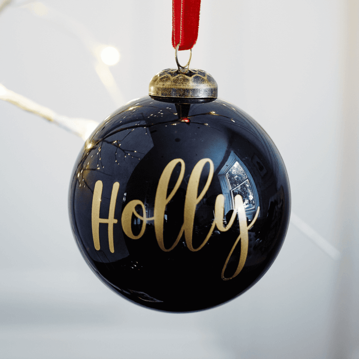 Gloss Black Personalised Bauble BF