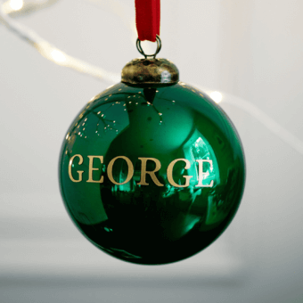 Gloss Green Personalised Bauble