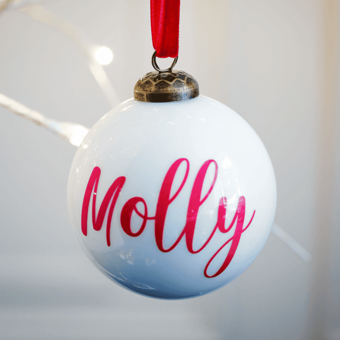 Gloss White Personalised Bauble