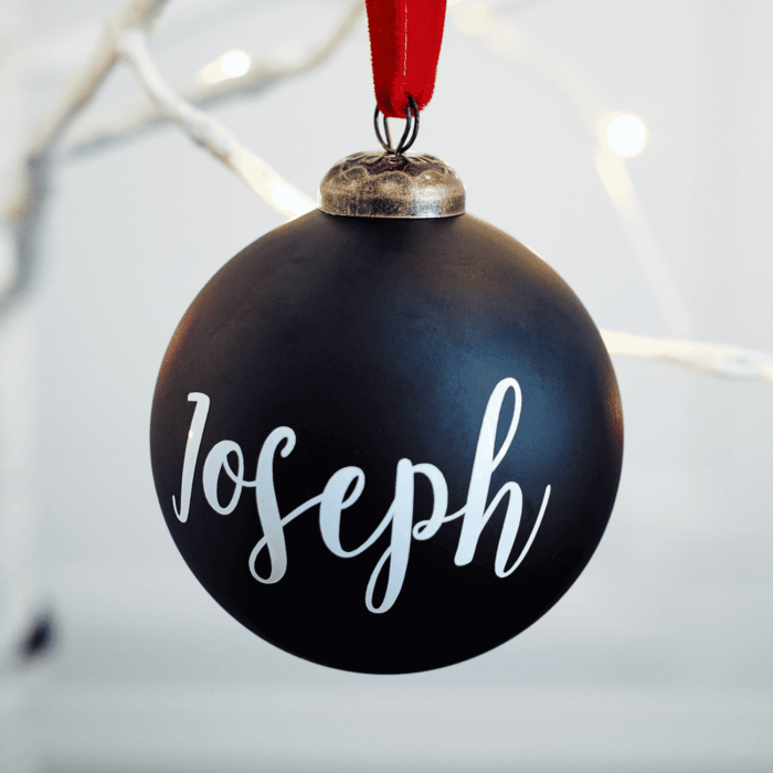Matte Black Personalised Bauble BF