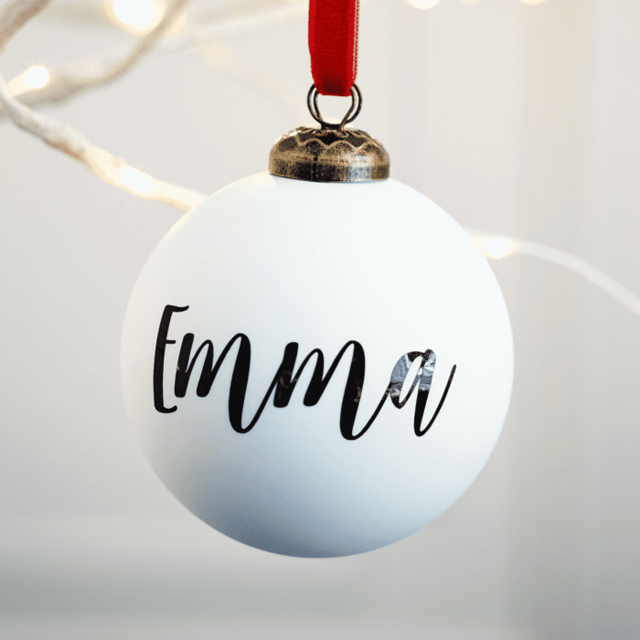 Matte White Personalised Bauble