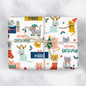 Meowy Christmas Personalised Cat Gift Wrap