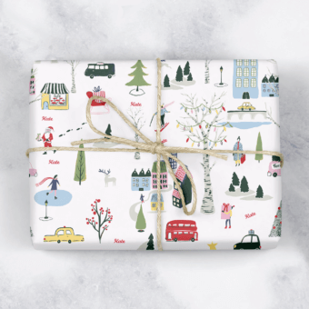 Christmas Village Personalised Gift Wrap
