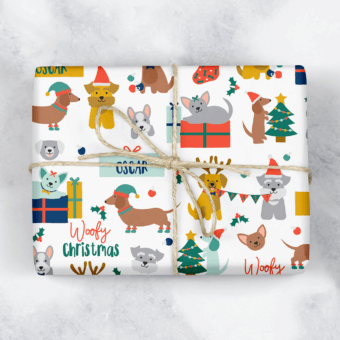 Woofy Christmas Personalised Dog Gift Wrap