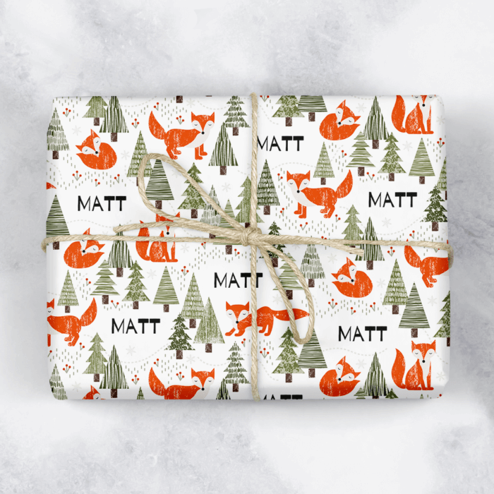 Christmas Fox Personalised Gift Wrap